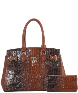 2 in 1 Handbag w Wallet Set crocodile embossed Glossy CY7083 WCOFFEE
