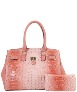 2 in 1 Handbag w Wallet Set crocodile embossed Glossy CY7083 WPINK