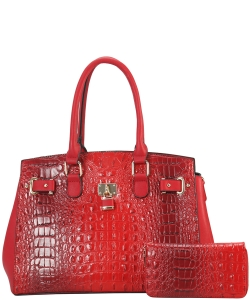 2 in 1 Handbag w Wallet Set crocodile embossed Glossy CY7083 WRED