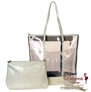 Designer Inspired 2 Piece Clear Handbag