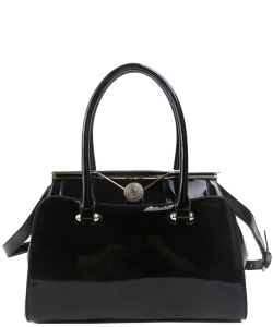 Fashion Handbag Embossed Glossy T2470 BLACK