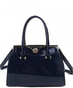 Fashion Handbag Embossed Glossy T2470 NAVY