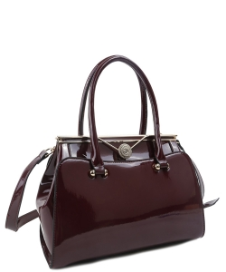 Fashion Handbag Embossed Glossy T2470 WINE