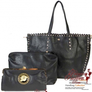 Combo! 3 bags for 1 price!Designer Inspired Leatherette Handbag w/ Stud Decor and Zipper Pouch and Matching Clutch