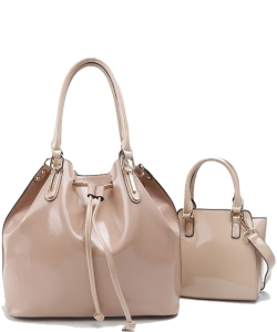 2-in-1 Real Patent Leather Handbag - Two Shoulder Handbags in One - Genuine Glossy Patent Leather L1212 BIEGE