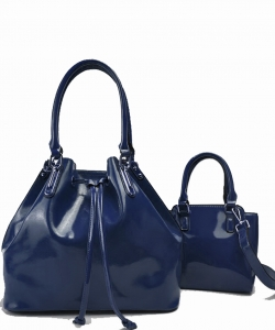 2-in-1 Real Patent Leather Handbag  L1212 NAVY