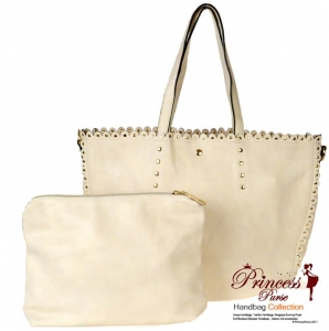 Designer Inspired Leatherette Handbag w/ Stud Decor and Zipper Pouch. Two Bags in One!