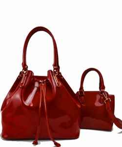 2-in-1 Real Patent Leather Handbag - Two Shoulder Handbags in One - Genuine Glossy Patent Leather L1212 RED