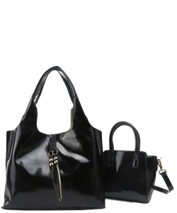 2-in-1 Real Patent Leather Handbag - Two Shoulder Handbags in One - Genuine Glossy Patent Leather L1210 BLACK