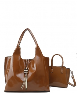 2-in-1 Real Patent Leather Handbag - Two Shoulder Handbags in One - Genuine Glossy Patent Leather L1210 BROWN