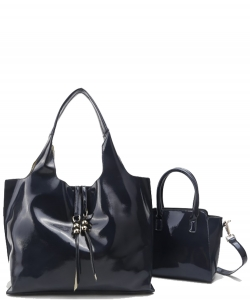 2-in-1 Real Patent Leather Handbag - Two Shoulder Handbags in One - Genuine Glossy Patent Leather L1210 NAVY