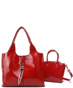 2-in-1 Real Patent Leather Handbag - Two Shoulder Handbags in One - Genuine Glossy Patent Leather L1210 RED