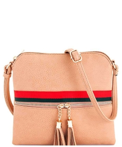 Stripe Accent Tassel Zipper Puller Cross Body Bag BW2309E PINK
