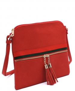Stripe Accent Tassel Zipper Puller Cross Body Bag BW2309E RED