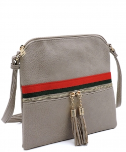 Stripe Accent Tassel Zipper Puller Cross Body Bag BW2309E STONE