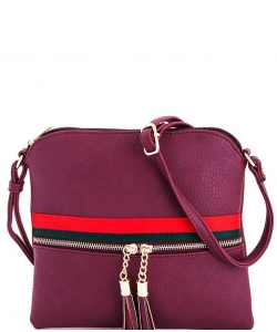 Stripe Accent Tassel Zipper Puller Cross Body Bag BW2309E WINE