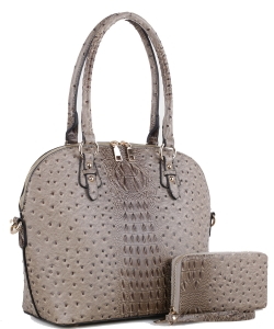 Ostrich Designer Satchel Matching Wallet Included 87940 TAUPE