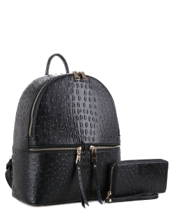 Handbag Inc Ostrich Vegan Leather Backpack and Wallet 87942 BLACK