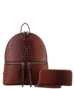 Handbag Inc Ostrich Vegan Leather  Backpack and Wallet 87942 BROWN