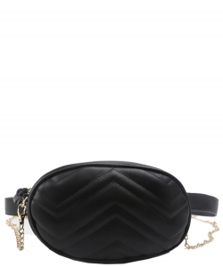 Designer Trendy Cross Body Waist Bag  N0633 BLACK