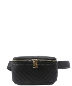Designer Trendy Cross Body Waist Bag  N0650 BLACK