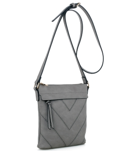 Chevron Pattern Tassel Accent Cross Body Messenger BW2343 LIGHTGRAY