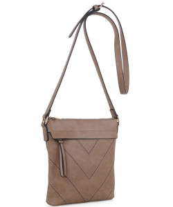 Chevron Pattern Tassel Accent Cross Body Messenger BW2343 TAUPE