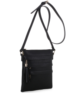 Tassel Accent Multi-Pocket Cross Body Messenger BW2344 BLACK
