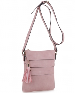 Tassel Accent Multi-Pocket Cross Body Messenger BW2344 BLUSH