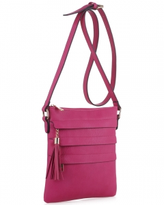 Tassel Accent Multi-Pocket Cross Body Messenger BW2344 FUSHIA