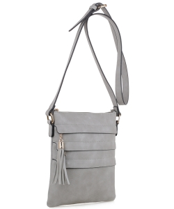 Tassel Accent Multi-Pocket Cross Body Messenger BW2344 GRAY