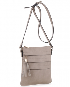 Tassel Accent Multi-Pocket Cross Body Messenger BW2344 NUDE