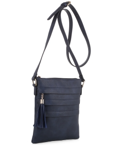 Tassel Accent Multi-Pocket Cross Body Messenger BW2344 NAVY
