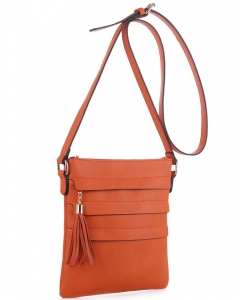 Tassel Accent Multi-Pocket Cross Body Messenger BW2344 ORANGE