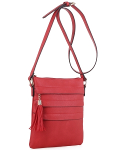 Tassel Accent Multi-Pocket Cross Body Messenger BW2344 RED