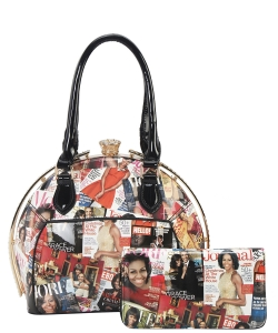 2 PCS SET Fashion Magazine Print Faux Patent Leather Handbag With Gold Embellishments OB6952 BLACK