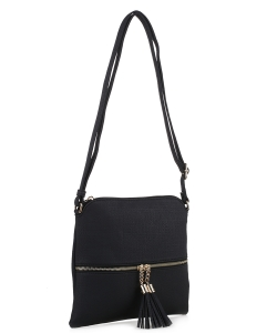 Fashion Accent Tassel Zipper Puller Cross Body Bag BW2309F BLACK