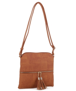 Fashion Accent Tassel Zipper Puller Cross Body Bag Bw2309f Congac