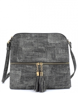 Textured Tassel zipper Cross body Bag BS2309F GREY