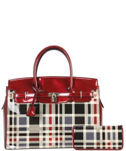 Plaid Design Patent Leather Medium Satchel with padlock deco plus  Matching Wallet GZ6983 RED