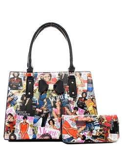 Fashion Magazine Print Bow Accent Tote Wallet SET OB6923W BLACK