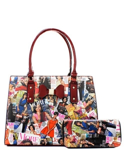 Fashion Magazine Print Bow Accent Tote Wallet SET OB6923W RED