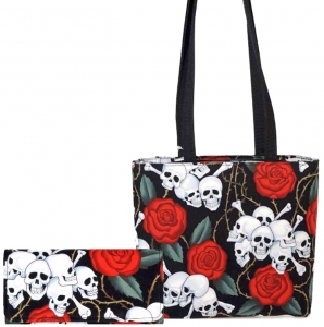 Purse/Wallet Combo!! SKULLS ROSES TATTOO PATTERN FABRIC MESSENGER BAG SHOULDER BAG HANDBAG PURSE ( USA Hand Made)