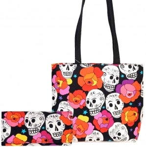Combo!!SKULLS COLORFUL FLOWERS TATTOO PATTERN FABRIC MESSENGER BAG SHOULDER BAG HANDBAG PURSE w/ Matching Wallet. ( USA Hand Made)