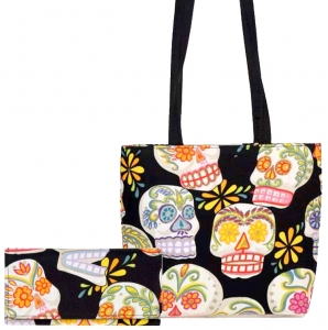 CALAVERAS COLORFUL PATTERN FABRIC MESSENGER BAG SHOULDER BAG HANDBAG PURSE ( USA Hand Made)