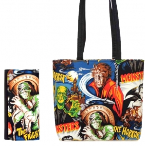 Combo!! MONSTERS HORROR HOLLYWOOD MOVIES PATTERN FABRIC MESSENGER BAG SHOULDER BAG HANDBAG PURSE W/ Matching Mummy Wallet ( USA Hand Made)