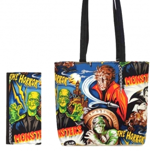 Combo!! MONSTERS HORROR HOLLYWOOD MOVIES PATTERN FABRIC MESSENGER BAG SHOULDER BAG HANDBAG PURSE W/ Matching Frankenstein Wallet ( USA Hand Made)