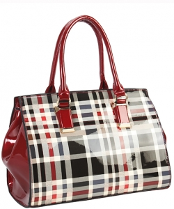 Patent Flannel Faux Leather Shoulder GZ7081 RED