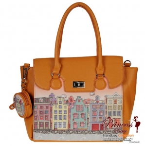 Designer Inspired Leatherette Handbag w/ Colorful City Design In front and Coin Zipper Pouch.
