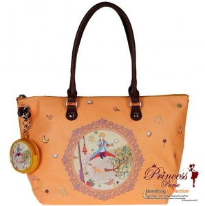 Designer Inspired Leatherette Handbag Bag w/ Colorful Theme Design In front and Coin Zipper Pouch.